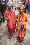 在加德满都街道上的Sadhu  库存图片