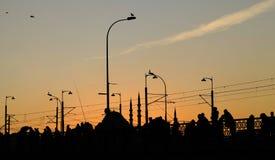 在加拉塔桥梁的伊斯坦布尔Silhoutte照片 免版税库存图片