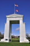 在加拿大和美国之间的桃子曲拱 库存图片