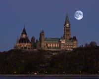 在加拿大国会的Supermoon 免版税库存图片