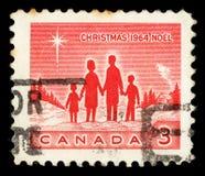 在加拿大打印的圣诞节邮票显示伯利恒家庭和星  免版税库存图片