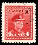 在加拿大打印的邮票显示乔治六世国王 免版税库存图片