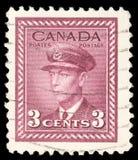 在加拿大打印的邮票显示乔治六世国王 库存照片