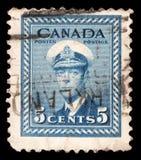 在加拿大打印的邮票显示乔治六世国王 库存图片
