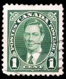 在加拿大打印的邮票,乔治六世国王展示画象  库存照片
