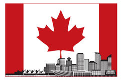 在加拿大旗子传染媒介例证的BC温哥华加拿大地平线 免版税图库摄影