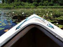 在加拿大湖的皮船 库存照片