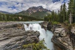 在加拿大落矶山脉贾斯珀国家公园的瀑布 免版税库存照片