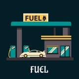 在加油站的汽车在平的样式 免版税库存图片