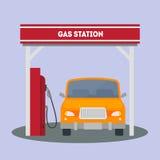 在加油站的汽车 向量 向量例证