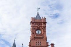 在加的夫海湾,威尔士的Pierhead大厦 免版税库存图片