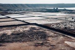 在加那利群岛盐溶舱内甲板,西班牙的兰萨罗特岛 库存照片