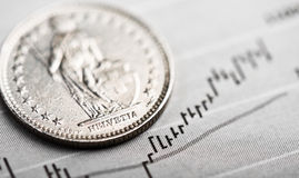 在动摇的图表的一枚瑞士法郎硬币 库存图片