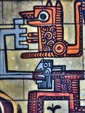 在动物的公开墙壁摘要玛雅样式艺术的街道街道画 Novi哀伤的塞尔维亚08 14 2010年 免版税图库摄影