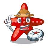 在动画片形状的探险家红色海星 库存例证