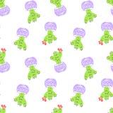 在动画片样式的仙人掌简单的sketh得出的手无缝的样式 对墙纸,网背景,纺织品,包裹 库存例证