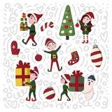 在动画片样式的圣诞节矮子手拉的集合 向量例证