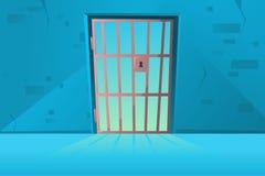 在动画片样式的栅格门 ?? 走廊与格子的监狱牢房内部 监狱室 r 库存例证
