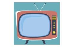 在动画片样式的老电视 皇族释放例证