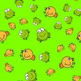 在动画片样式的鸡和青蛙无缝的样式 库存例证