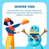 在动画片设计的冬时招呼的平的卡片 皇族释放例证