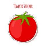 在动画片平的样式做的蕃茄贴纸 市场的标签 免版税图库摄影