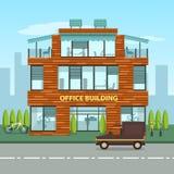 在动画片平的样式的现代办公楼 库存例证