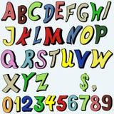 在动画片样式的多彩多姿的字母表 库存例证