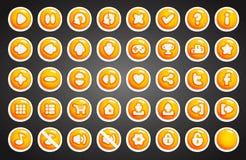 在动画片样式的比赛按钮 免版税库存图片