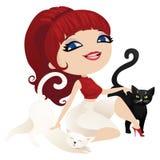 在动画片样式的逗人喜爱的女主人猫 图库摄影