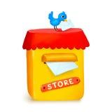 在动画片样式的逗人喜爱的小的商店黄色岗位箱子 免版税库存照片