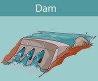 水在动画片样式的水坝象 免版税库存图片