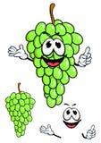 在动画片样式的水多的绿色葡萄果子 库存图片