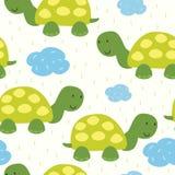 在动画片样式的滑稽的乌龟印刷品 模式 库存例证