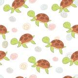 在动画片样式的滑稽的乌龟印刷品 模式 向量例证