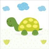 在动画片样式的滑稽的乌龟印刷品 向量例证