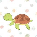 在动画片样式的滑稽的乌龟印刷品 库存例证