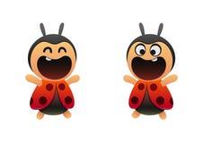 在动画片样式的滑稽的小的瓢虫 库存照片