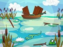 在动画片样式画的湖的小船 免版税库存图片