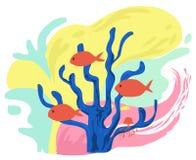 在动画片的五颜六色的海洋生物 库存图片