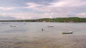 在努沙海岛之间的浅河 股票录像