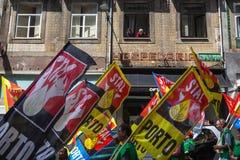 在劳动节的庆祝时在市中心 免版税库存照片