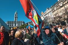 在劳动节的庆祝时在市中心 免版税库存图片