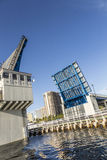 在劳德代尔堡打开吊桥 库存图片