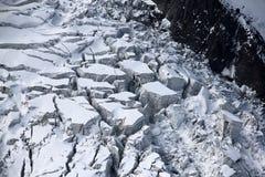 在勃朗峰山脉的冰川在夏慕尼,法国 免版税库存照片