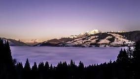 在勃朗峰的日落 免版税库存照片