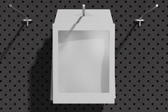 在勾子的被隔绝的黑纸板箱在商店 3d翻译 免版税库存图片