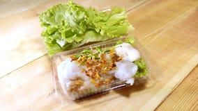 在包装的塑料的蒸的米皮肤饺子 图库摄影
