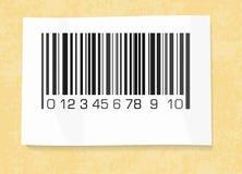 在包装纸的条形码标签 免版税图库摄影