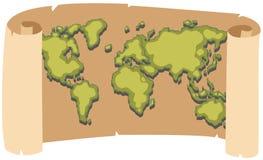 在包装纸的Worldmap 图库摄影